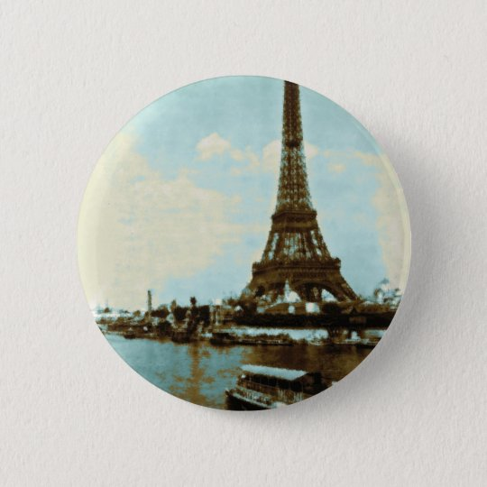 Vintage Paris Water Color Pinback Button