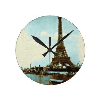 Vintage Paris Water Color Round Clock