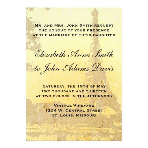 Vintage Paris Wedding Invitation