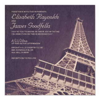 "Vintage Paris Wedding Invitations 5.25"" Square Invitation Card"