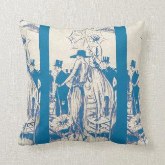 Vintage Paris Women Parasol Fashion Stripes Pillow