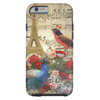Vintage París y collage de la hoja de música de Funda De iPhone 6 Tough