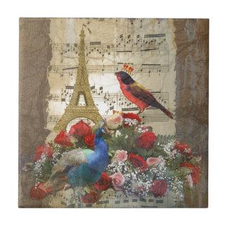 Vintage París y collage de la hoja de música de lo Teja Ceramica