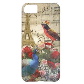 Vintage París y collage de la hoja de música de lo Funda Para iPhone 5C