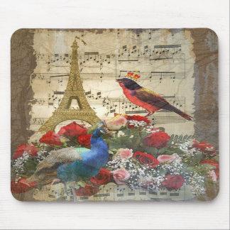 Vintage París y collage de la hoja de música del p Tapete De Raton