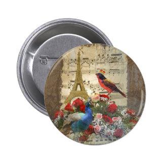 Vintage París y collage de la hoja de música del Pin Redondo De 2 Pulgadas