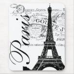 Vintage París y etiqueta de la torre Eiffel Tapete De Ratones