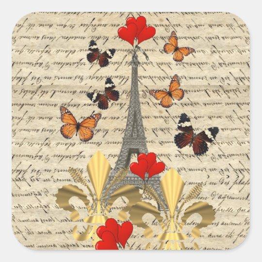 Vintage París y mariposas Pegatina Cuadrada