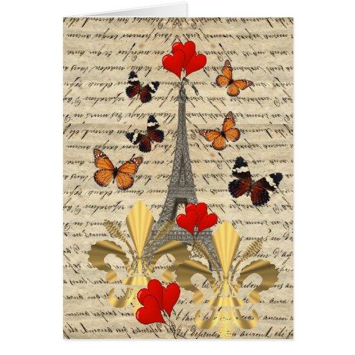 Vintage París y mariposas Tarjeta De Felicitación