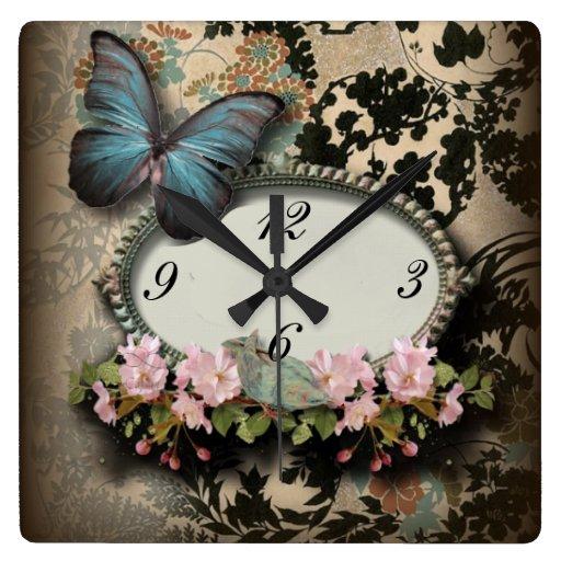 Vintage ParisButterfly Damask Monogram Square Wall Clock