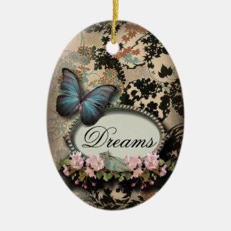 Vintage ParisButterfly Damask Monogram Double-Sided Oval Ceramic Christmas Ornament