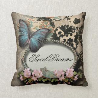 Vintage ParisButterfly Damask Monogram Pillow