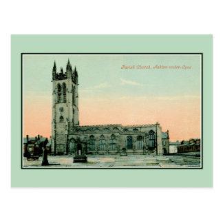 Vintage Parish Church Ashton-under-Lyne Postcard