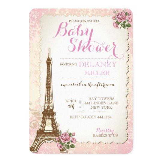 Vintage Parisian Baby Shower Girl Invitations Zazzle