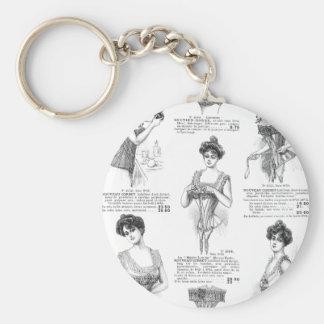 Vintage Parisian Corset Ad Keychain