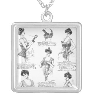 Vintage Parisian Corset Ad Silver Plated Necklace