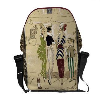 Vintage Parisian Ladies Fashion Art Nouveau Courier Bag