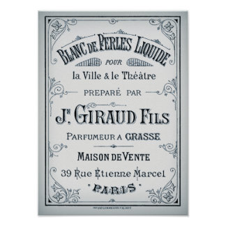 Vintage Parisian Perfume Label Poster