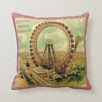 Vintage Parisian Postcard Throw Pillow