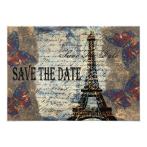 Vintage Parisian save the date Card