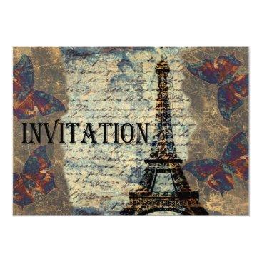 Vintage Parisian wedding invitation