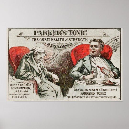 Vintage Parker's Tonic Medicine Quackery Advertise Poster