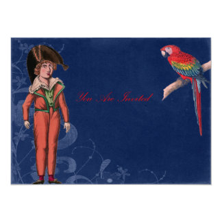 Vintage Parrot And Pirate Boy 5.5x7.5 Paper Invitation Card