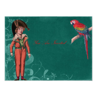 Vintage Parrot And Pirate Boy Card
