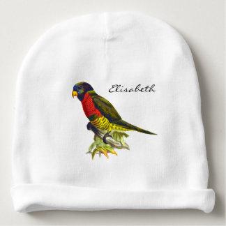 Vintage parrot illustration name baby beanie
