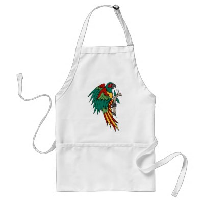 Vintage Parrot Tattoo Art Aprons by vintagegiftmall