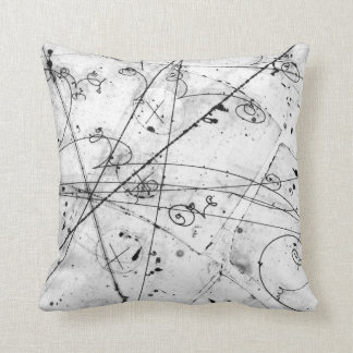 Vintage Partice Physics Tracks on White Throw Pillow