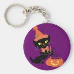 Vintage Party Black Cat Key Chain
