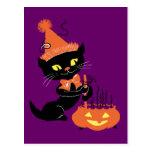 Vintage Party Black Cat Postcard