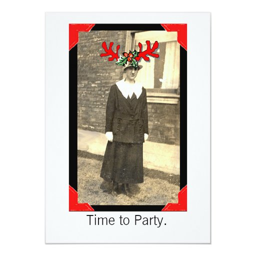 Vintage party girl 5x7 paper invitation card