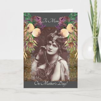 Vintage Party Girl on Victorian Tapestry Card