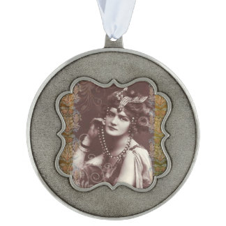 Vintage Party Girl on Victorian Tapestry Ornament