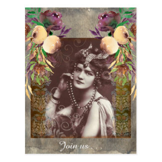 Vintage Party Girl on Victorian Tapestry Postcard