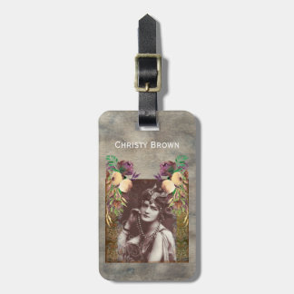 Vintage Party Girl Victorian Tapestry Luggage Tag