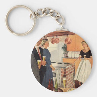 Vintage Party in the Kitchen, Beer and Appetizers Basic Round Button Keychain