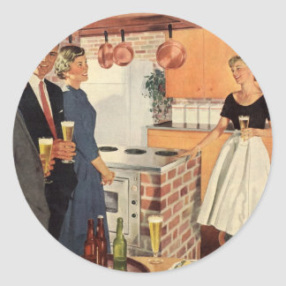 Vintage Party in the Kitchen, Beer and Appetizers Classic Round Sticker