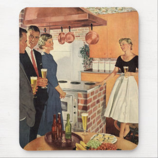 Vintage Party in the Kitchen, Beer and Appetizers Mouse Pad