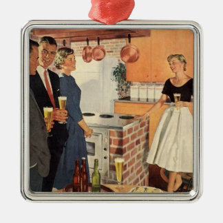 Vintage Party in the Kitchen, Beer and Appetizers Christmas Ornament