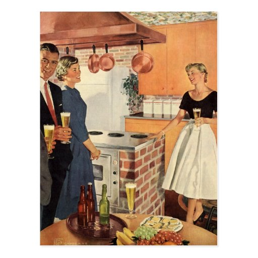 Vintage Party in the Kitchen, Beer and Appetizers Postcard