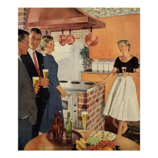 Vintage Party in the Kitchen Beer and Appetizers Poster