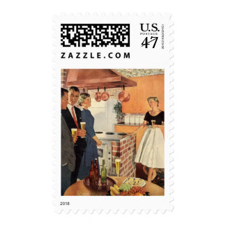 Vintage Party in the Kitchen, Beer and Appetizers Stamp