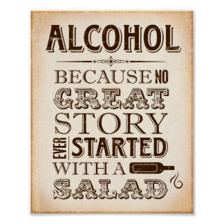 Vintage Party Prints / ALCOHOL No Great Party Sign