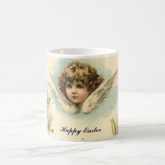 Vintage Pascua, ángel del Victorian con las flores Taza Clásica