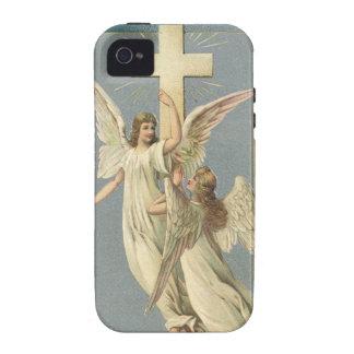Vintage Pascua, ángeles del Victorian con una cruz iPhone 4/4S Carcasa