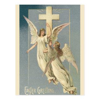 Vintage Pascua, ángeles del Victorian con una cruz Postal
