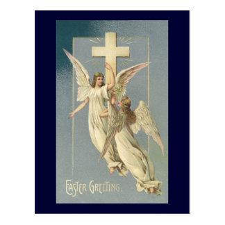 Vintage Pascua, ángeles del Victorian con una cruz Postales